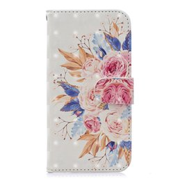 Golden Paintings Australia - Leather Flip Case for Iphone 6 6s Painted Golden Butterfly Red flower Vintage car Cat Lace Rose Sun flower Flower sea with credit card slot