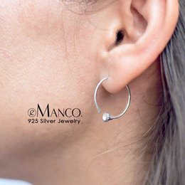 044cbaf08 e Manco Gold Color 925 Silver Big Hoop Earrings for Women Round Circle  Earrings Brincos Jewelry Party Rock Fashion Gift e-Manco Gold