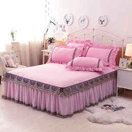 pink bedspreads queen size NZ - 1 3Pcs 100%Coon Lace King Queen Full size Bed skirt Luxury Pink Blue Princess Bedspread Bedsheet Pillowcase Home Decorative