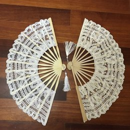 $enCountryForm.capitalKeyWord Australia - 7 colors vintage style handmade folding fan battenburg lace embroidery white and beige wedding fans woman hand fan high