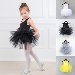 Wholesale performance tutu kids resale online - Children girls dancewear Dance skirts Students performance clothing kids Ballet skirt lace Tutu Tulle dress baby Summer Sling dress C6363
