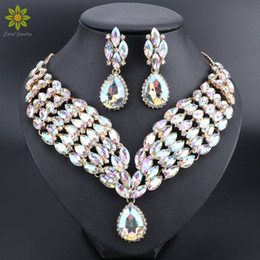 $enCountryForm.capitalKeyWord Australia - Indian Jewellery Sets AB Color Crystal Bridal Jewelry Sets Rhinestone Party Wedding Costume Necklace Earrings Sets for Brides