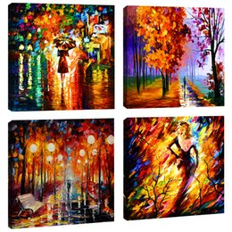 $enCountryForm.capitalKeyWord Australia - Landscape Painting Print Lover Walk in the Rain Street Tree Abstract Art Picture Canvas Wall Art Modern House Living Room Decor with Framed