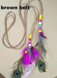 $enCountryForm.capitalKeyWord Australia - Feather Headband Women Headdress Bohemian Peacock Feather Beaded Handmade Hair Bands Hair Accessories Boho Hippie Adjustable Party Favor
