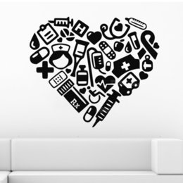 hospital cartoons NZ - Medical Heart Wall Stickers Hospital Dental Clinic Decor Modern Creative Room Decoration Wall Decal Mural vinilos paredes