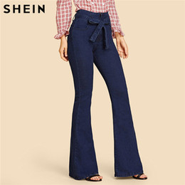 $enCountryForm.capitalKeyWord Australia - SHEIN Navy High Waist Vintage Long Flare Leg Belted Jeans Women Tie Waist Zipper Fly Retro Stretchy Black Denim Pants 4 Colors