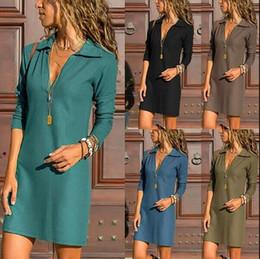 Discount long lining supplies - High waist dress long sleeve lapel neck short dress women casual a line shirt dress factory price supply