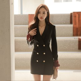 Wholesale Autumn Blazer Notched Collar Patchwork Women Solid Elegant Empire Dresses Double Breasted Office Ladies Fashion Sexy Vestidos
