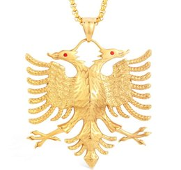 Russian aRm online shopping - Soitis Albania Flag Eagle Pendants Russian Emblem Necklace Coat Of Arms Double Headed Eagle Stainless Steel Pendants Chain J190713