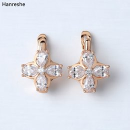 Copper Earrings Australia - HANRESHE Blue Transparent Stone Earrings Shaped Copper Stud Earring Rose Gold Filled Earring Womens Round Trendy Jewelry Gift