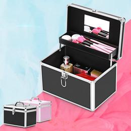 Box Jewelry Storage Organizer Black Australia - New Professional Aluminum Makeup Case Portable Travel Jewelry Cosmetic Organizer Box With Mirror Beauty Vanity Brush Storage Bag