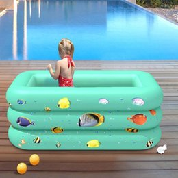inflatable tub pool UK - 120 130CM Rectangular Inflatable Swimming Pool Thicken PVC Paddling Pool Bathing Tub Outdoor Summer Swimming For Kids