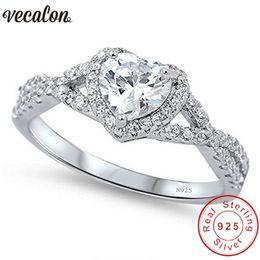 Cz Heart Cluster Ring Australia - Vecalon Heart Shape 100% Soild 925 Sterling Silver Ring 0.5ct Sona 5a Zircon Cz Engagement Wedding Band Rings For Women Men Gift C19021501