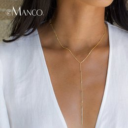 copper strips NZ - e-Manco Simple Stick Pendant Necklaces for Women Long Strip Choker Necklace collier Femme Statement Jewelry Gifts for Friendship