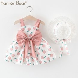 girls fruit clothes UK - Humor Bear New Summer Baby Girl Dress Fruit Bow Vest Dress Fashion Hat As A Gift 2PC Set Baby Kids ClothingToddler Girls Clothes