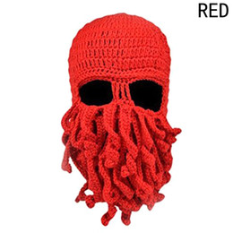 a338d751660 2019 New Unisex Octopus Winter Warm Knitted Wool Face Mask Hat Squid Cap  Cthulhu Tentacles Beanie Hat