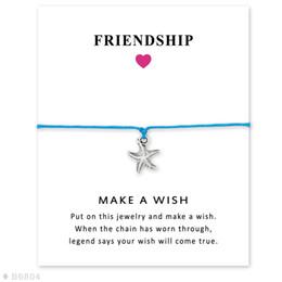 $enCountryForm.capitalKeyWord Australia - Girls Summer Vacation Adjustable Friendship Statement Ocean Beach Jewelry With Card Silver Starfish Charm Bracelets For Women