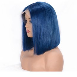 hair black bob silky Canada - Full Lace Human Hair Wigs For Women Natural Black Blue color Remy Hair Silky Straight Short Bob Lace Front human hair Wigs