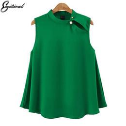 $enCountryForm.capitalKeyWord NZ - 2017 European Style Fashion Summer Women Blouse Sleeveless Chiffon Elegant Ladies Office Shirt Plus Size 4xl Casual Tops Blusa SH190628