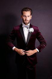 $enCountryForm.capitalKeyWord Australia - Stylish Design Groom Tuxedos One Button Dark Red Velvet Notch Lapel Groomsmen Best Man Suit Mens Wedding Suits (Jacket+Pants+Tie)