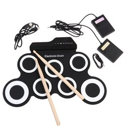 Elektronik Drum Pad Ile Drumsticks Pedalı Taşınabilir Dijital USB Davul Pad Katlanabilir Silikon Enstrüman