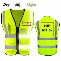 safety strips NZ - Free shipping Custom Your Logo Protective Workwear 5 Pocket High visibility Safety Vest With Reflective Strips Outdoor Work T191226