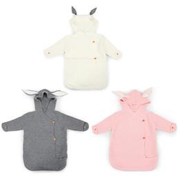 Wrap Sleeping Bag Australia - Baby stroller sleeping bag Cute Rabbit Shape Knitted Swaddle Blanket Infant Sleeping Bag Quilt Blanket Wrap Sleep Sack wheelchair envelopes
