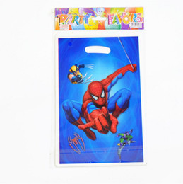 $enCountryForm.capitalKeyWord Australia - 20pcs lot Spiderman Theme Party Gift Bag Party Decoration Plastic Candy Bag Loot Bag For Kids Festival Party Supplies