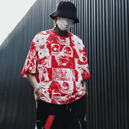 Wholesale bat tee online – design Men Summer Personality Printed Bat Sleeve Loose T Shirts Fashion Streetwear Harajuku Hip Hop Cotton OVERSIZE TShirts Top Tee
