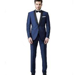 $enCountryForm.capitalKeyWord Australia - Summer Navy Blue Groom Wedding Tuxedos 2 Pieces Shawl Lapel Mens Suit Custom Groomsman Best Man Blazer(Jacket+Pants)