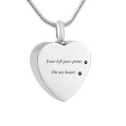$enCountryForm.capitalKeyWord Australia - LHP38 Pet Loss Jewelry Custom Engrave Heart Cremation Necklace to Put Dog's Cremated Ashes in-Your left paw print on my heart