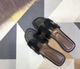 Slipper Bottoms Canada - sandal Luxury brand Women high-end slippers ladies slides 2019 fashion Sole leather flip flops flat-bottomed sandals women's shoes