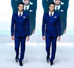 Cloth For Suits Australia - 2019 Royal Blue Two Button Groom Tuxedos Cloth notch Lapel Formal Wedding Dress Groomsman Suit for Men (Jacket+Pants+Vest+Tie)