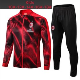 tracksuit milan UK - Top quality Milan child jacket Soccer jersey training suit PIATEK CUTRONE LOCATELLI football jacket kids suit 2019 AC Milan tracksuit sur