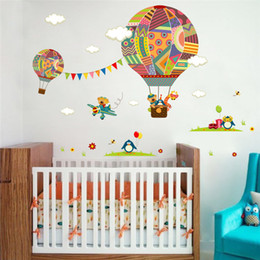 Wall Stickers Children S Bedroom Australia - Colorful Hot Air Balloon Animal Nursery Room wall sticker Bear Giraffe children 's room cartoon classroom Wall Decals Poster