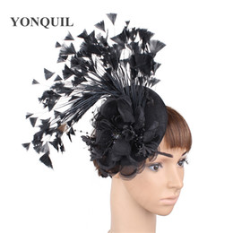 9dbde984 Fashion headwear fancy feathers elegant ladies fascinator chapeau wedding  floral black hat women party shou hair accessory clips free ship
