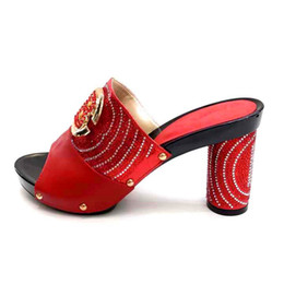italian showers NZ - Latest Red African Wedding Shoes Open Toe Ladies Sandals Italian Party Shoes Decorated with Rhinestone Nigerian Shoes Slippers