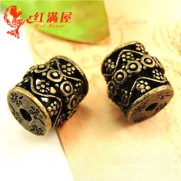 $enCountryForm.capitalKeyWord NZ - 20pcs 13*13*3MM Antique bronze Hollow Pipe tube Beads vintage loose beads Wholesale of DIY Alloy Jewelry Fittings by Hand String of Retro