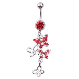 chain navel 2019 - Red Rhinestone Butterfly Pendant Lady Belly Button Ring Crystal Beads Navel Piercing Plug and Tunnel Women Body Chain Je