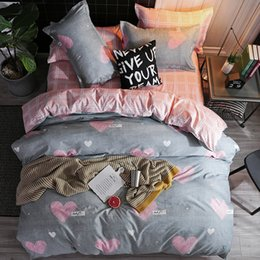 3d chocolate heart 2019 - 2019 new home bedding grey heart Duvet cover set super king bedclothes stripe flat sheet Adults bedding cotton set bed l