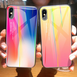 glasses wallet NZ - With Apply To Iphone Xs Max Hand Shell Apple Xr Laser Aurora Gradual Change 7 Glass Shell 6plus