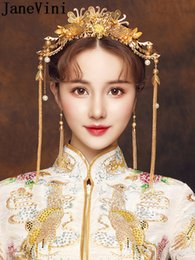 Gold Headbands NZ - JaneVini Chinese Style Bride Headband Gold Hair Accessories Long Tassel Earrings Set Vintage Pearl Bridal Wedding Hairwear Head Jewelry