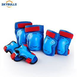 skate gear NZ - Skybulls 6pcs Set Kids Knee Pads Elbow Pads Wrist Protector Bicycle Skateboard Skate Roller Outdoor Sports Protective Gear Set T200611