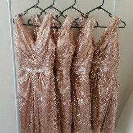 cheap rose red bridesmaid dresses Australia - Sparkly Rose Gold Bridesmaid Dresses Cheap V neck Sequins Ruched Floor Length Country Wedding Guest Evening Prom Formal party Dress