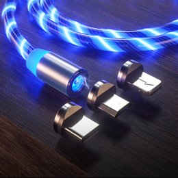 Charging Cable magnet online shopping - Magnetic Charger Cable Flowing Light Fast Charging Magnet Micro USB Type C Cable For samsung huawei LED Magnetic Wire Cord