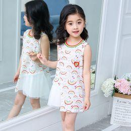 Kid dresses Korea online shopping - Kids Designer Clothes Girls Rainbow Dresses Lace Cotton Princess Dress Sleeveless Children Sundress Korea Trendy Summer Kid Clothing YW3434Q