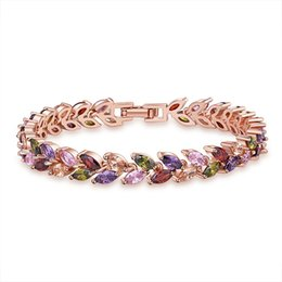 Chinese  Wedding Jewelry Bracelets Rose Gold Multi-color Cubic Zirconia Gemstone Fashion Luxury Women For Bracelets Bangles Holiday Gift Jewelry NEW manufacturers