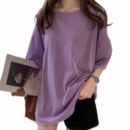 Korean Tshirt Women Australia - Summer korean casual loose purple Tshirt Women Letter T-shirts Printing Funny Tee Shirt For Female Top Clothes Short Sleeve Tees