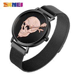 round black magnets UK - SKMEI Mens Watches Top Brand Luxury Quartz Wristwatch Simple Magnet Watch Stainless Band Waterproof Luminous montre homme 9173