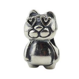 $enCountryForm.capitalKeyWord NZ - 925 Sterling Silver Cat in love Charm Bead Fit for Troll & Pan Bracelet Jewelry DIY Beads